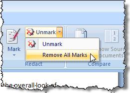 Suppression de toutes les marques dans le document original