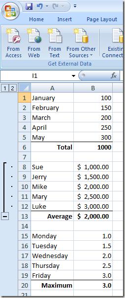 Grouper des lignes dans une feuille de calcul Excel