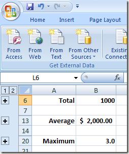 Plusieurs groupes de lignes réduits dans Excel