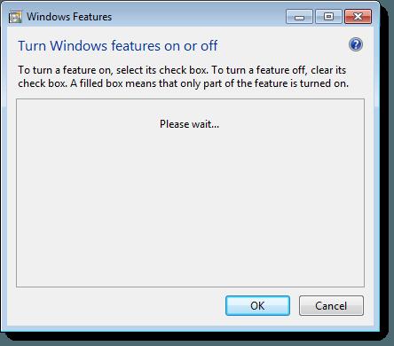 En attente de la liste des fonctionnalités Windows dans Windows 7