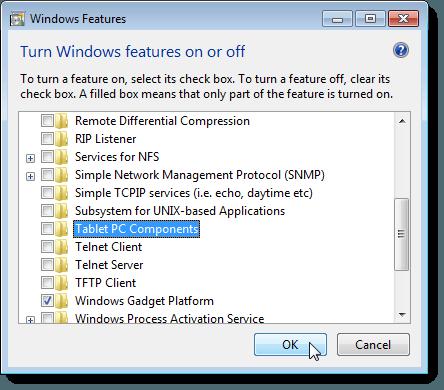 Fermeture de la boîte de dialogue des fonctionnalités de Windows