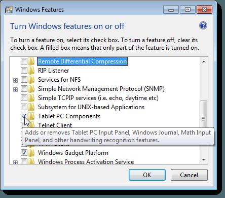 Affichage d'une description d'une fonctionnalité dans Windows 7