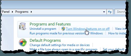 Cliquer sur le lien Activer ou désactiver les fonctionnalités Windows dans Windows 7