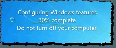 Message de configuration des fonctionnalités Windows
