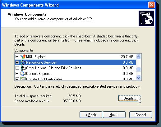 Cliquer sur Détails dans l'Assistant Composants Windows