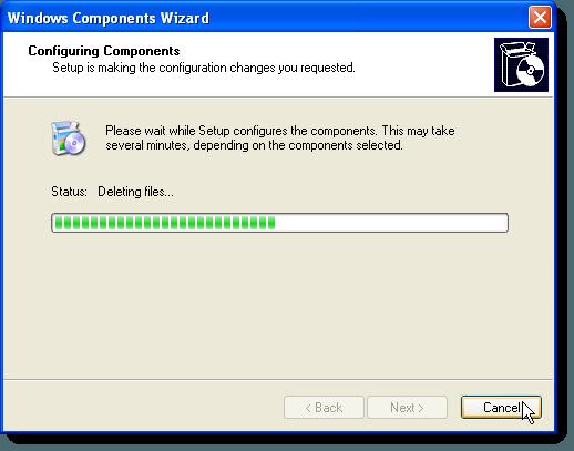 Écran de progression de la configuration des composants