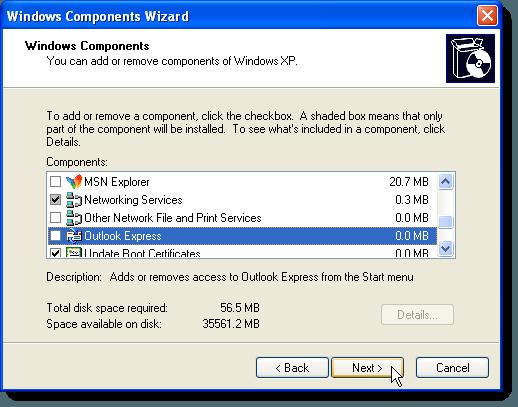 Cliquez sur Suivant sur l'écran des composants Windows