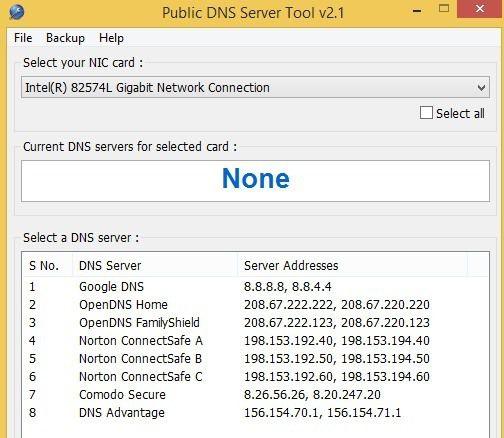 outil de serveur DNS public