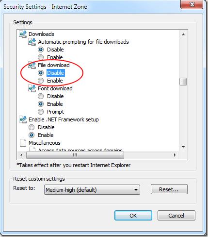 Désactiver les téléchargements de fichiers dans Internet Explorer 8