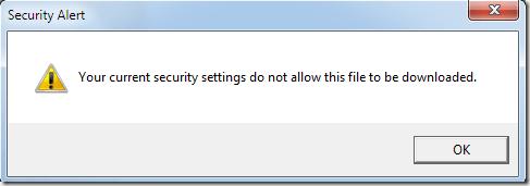 Les paramètres de sécurité IE8 n'autorisent pas le téléchargement