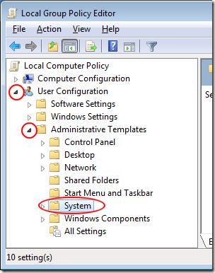 Modèles d'administration Windows 7