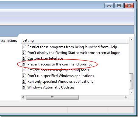 Empêcher l'accès à l'invite de commande Windows 7