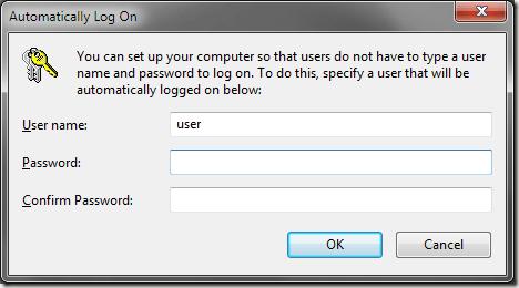 Ouverture de session automatique Windows 7