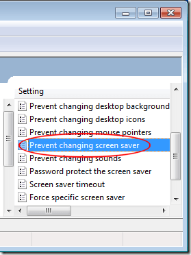 Empêcher la modification de l'économiseur d'écran dans Windows 7