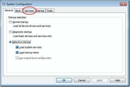 Onglet Services de la fenêtre de configuration du système