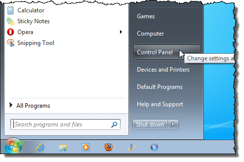 Ouverture du panneau de configuration sous Windows 7