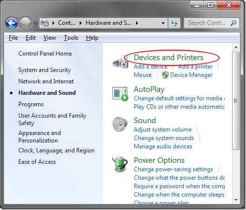 Périphériques et imprimantes Windows 7