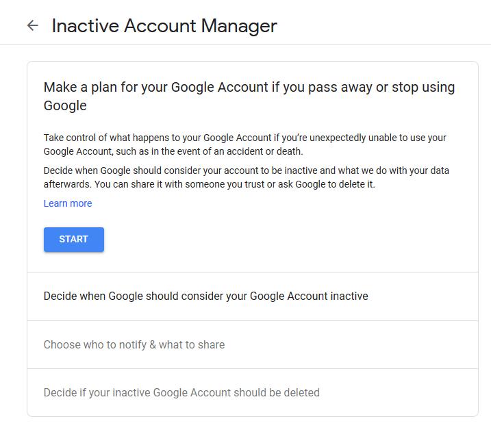 Comment activer le gestionnaire de compte Google inactif