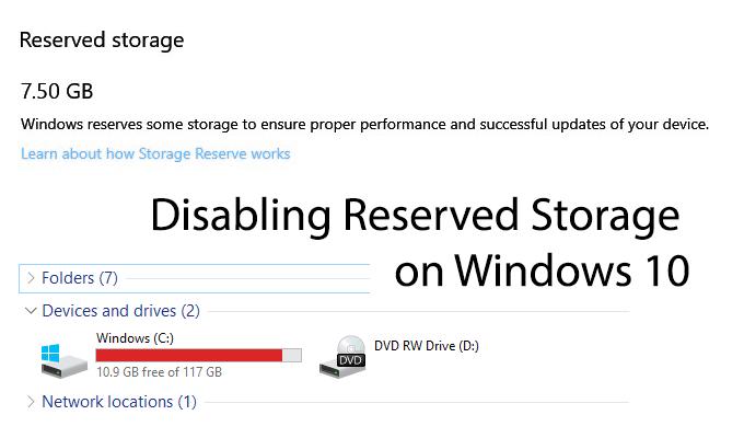 Comment desactiver le stockage reserve sur Windows 10