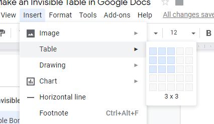 Comment supprimer les bordures de tableau dans Google Docs