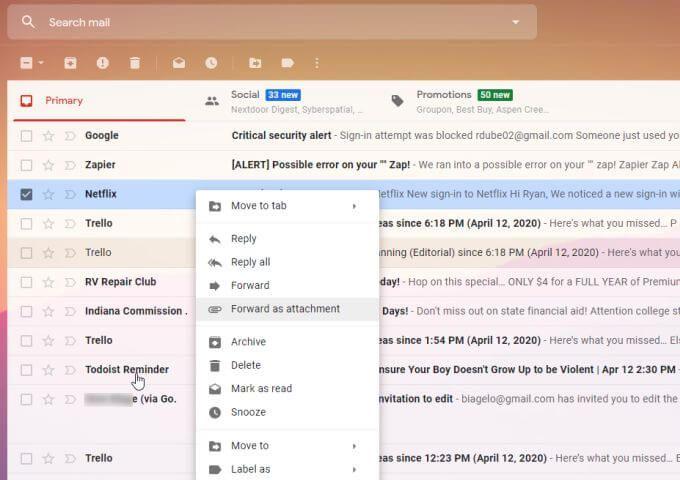 Comment transferer plusieurs e mails dans Gmail