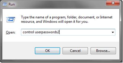 Tapez Control Userpasswords2 dans la boîte de dialogue Exécuter
