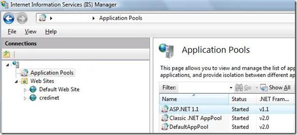 pool d'applications iis7