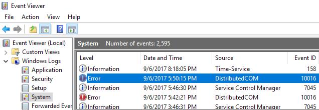 Correction de lerreur 10016 dans lObservateur devenements Windows