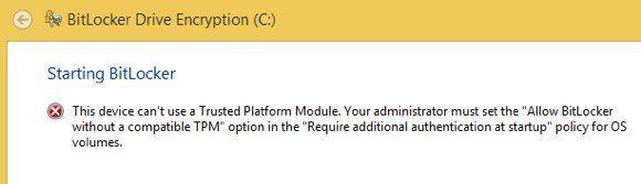 """Correction du problème """"Cet appareil ne peut pas utiliser un module de plateforme sécurisée"""" lors de l'activation de BitLocker"""