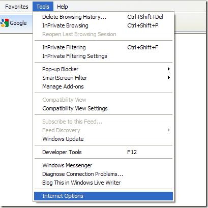 Outils Options Internet dans IE8