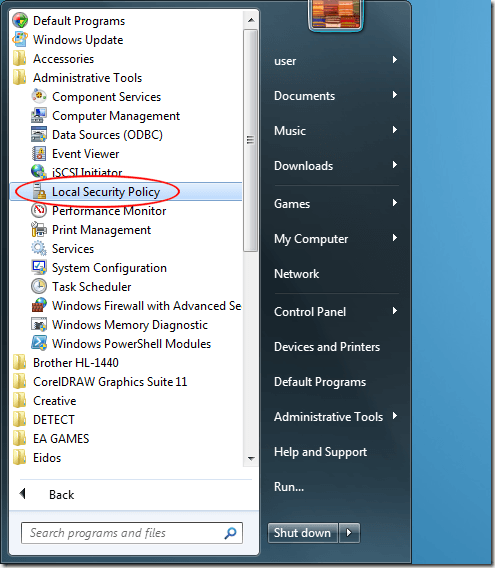Outils d'administration Windows 7