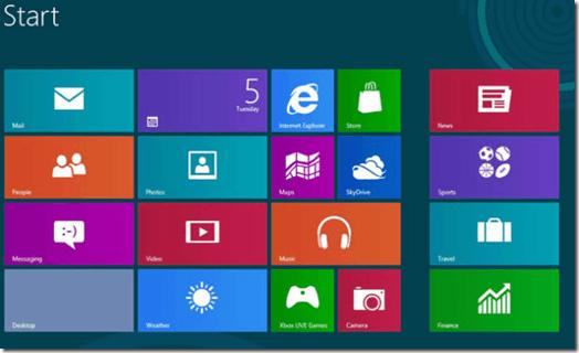 Menu Démarrer de Windows 8