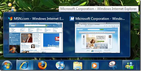 aperçu de la barre des tâches Windows 7