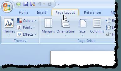 En cliquant sur l'onglet Mise en page dans Word 2007