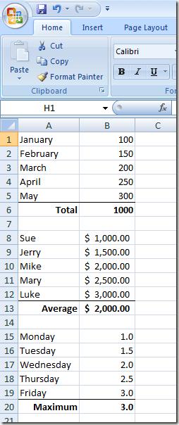 Une feuille de calcul Excel avec différents types de données