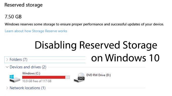 Comment désactiver le stockage réservé sur Windows 10